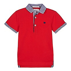 J by Jasper Conran - 'Boys' red gingham print trim polo shirt