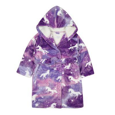bluezoo Girls\' purple unicorn print dressing gown   Debenhams