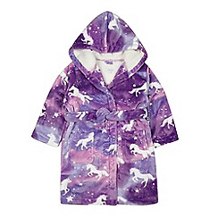 bluezoo - Girls' purple unicorn print dressing gown