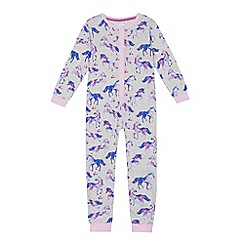 bluezoo - Girls' multi-coloured unicorn print onesie