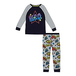 bluezoo - Boys' navy 'Hero' print jersey pyjama set