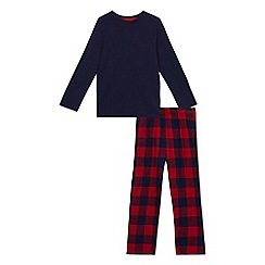 bluezoo - Boys' navy and red checked pyjama set