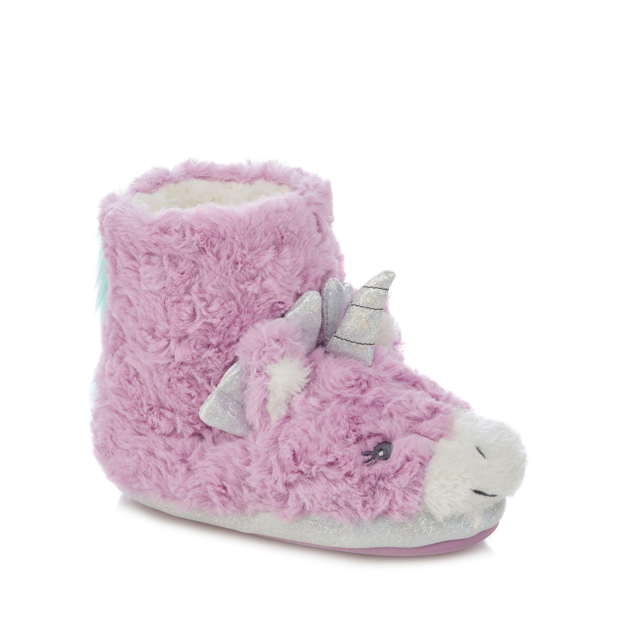 Bluezoo Kids Girls Lilac Faux Fur Unicorn Slippers From Debenhams