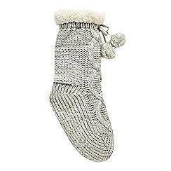 bluezoo - Girls' grey cable knit slipper socks