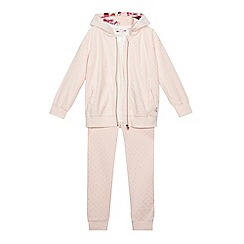 Baker by Ted Baker - Girls' light pink spotted velour hoodie, jogging bottoms and top set