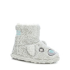 Tatty Teddy - Girls' grey faux fur slippers