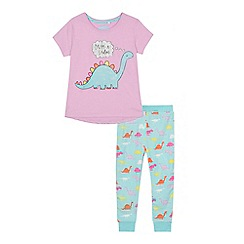 bluezoo - 'Girls' multi-coloured dinosaur print cotton short sleeve pyjama set