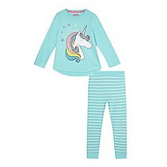 bluezoo - Girls' aqua 'I'm A Snoozi-Corn' pyjama set