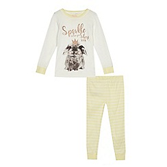 bluezoo - Girls' yellow and white rabbit print pyjama set