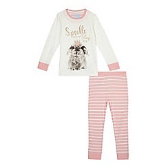 bluezoo - Girls' white and pink 'Sparkle When You Sleep' pyjama set