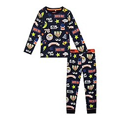 bluezoo - Boys' navy badge print pyjama set