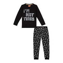 bluezoo - Boys' black 'I'm not tired' pyjama set