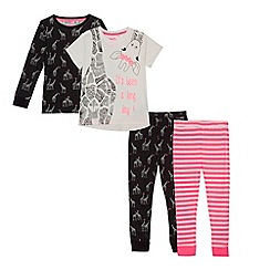 bluezoo - Pack of two girls' white and black giraffe print pyjama sets
