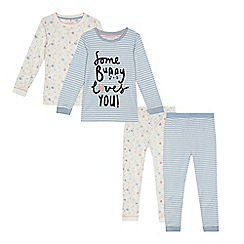 bluezoo - Pack of two girls' cream and blue striped and bunny print pyjama sets