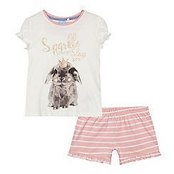 bluezoo - 'Girls' white bunny print t-shirt and shorts set