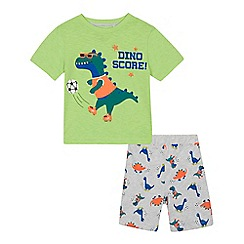 bluezoo - Boys' green 'Dino Score' print short sleeve pyjama set