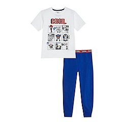 bluezoo - Boys' white 'Cool' selfie print pyjama set
