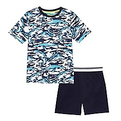 bluezoo - 'Boys' blue shark print top and shorts set