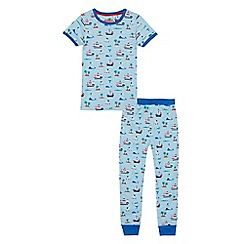 bluezoo - 'Boys' blue cotton pirate print short sleeve pyjama set