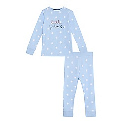 bluezoo - Boys' blue 'Little Prince' print cotton long sleeve pyjama set