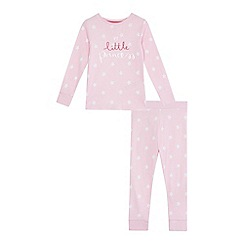 bluezoo - Girls' pink 'Little Princess' print cotton long sleeve pyjama set