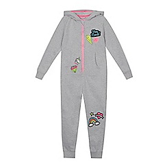 bluezoo - Girls' grey badge applique hooded onesie