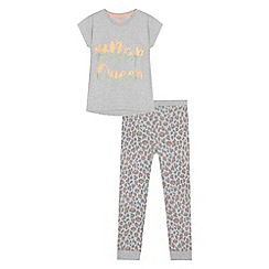 bluezoo - Girls' grey 'Nap Queen' pyjama set