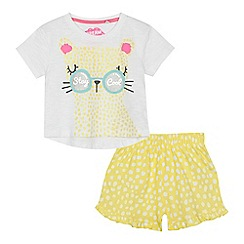 bluezoo - 'Girls' white and yellow cotton leopard short sleeve pyjama set