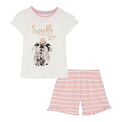 bluezoo - 'Girls' white bunny print cotton short sleeve pyjama set