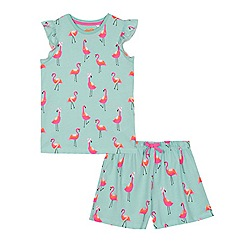 bluezoo - Girls' blue flamingo print top and bottoms set
