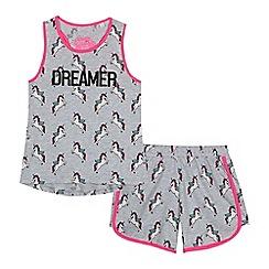 bluezoo - Girls' grey unicorn print pyjama set