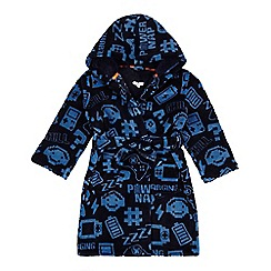 bluezoo - Boys' navy gamer print dressing gown