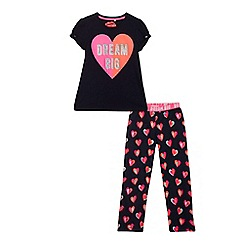 bluezoo - Girls' navy 'Dream big' print pyjama set