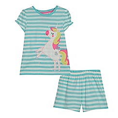 bluezoo - Girls' light blue striped unicorn applique pyjama set