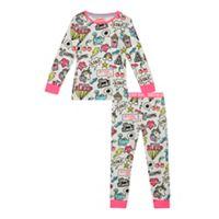 bluezoo - Girls' white badge print pyjama set