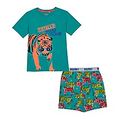 bluezoo - Boys' green tiger print t-shirt and shorts set
