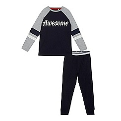 bluezoo - Boys' navy 'Awesome' print pyjama set