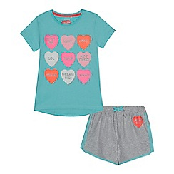 bluezoo - Girls' light blue heart slogan print t-shirt and shorts set