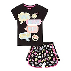 bluezoo - 'Girls' black slogan print cotton pyjama set