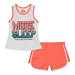 236020213980: Girls white More sleep pyjama set