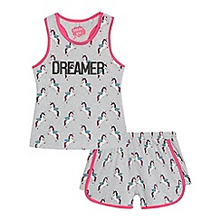 bluezoo - 'Girls' grey unicorn print vest and shorts set
