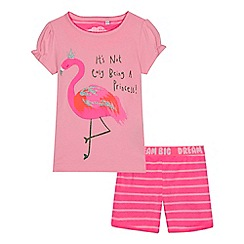bluezoo - Girls' pink flamingo print top and shorts set