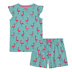 bluezoo - Girls' light blue flamingo print pyjama set