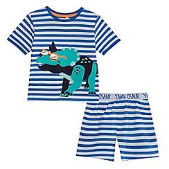 bluezoo - Boys' blue striped dinosaur applique pyjama set