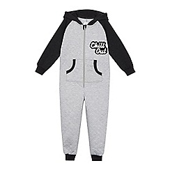 bluezoo - Boys' grey quilted 'Chill out' applique onesie