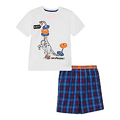 bluezoo - Boys' white 'Diplo-doughnut' print cotton short sleeve pyjama set