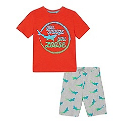 bluezoo - 'Boys' red shark print cotton short sleeve pyjama set