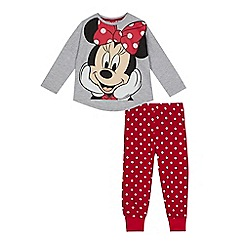 Minnie Mouse - Girls' grey and red 'Minnie Mouse' print pyjama set
