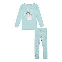 bluezoo - Girls' aqua penguin print pyjama set