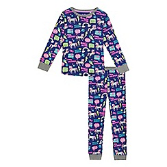 bluezoo - Girls' purple unicorn print cotton long sleeve pyjama set
